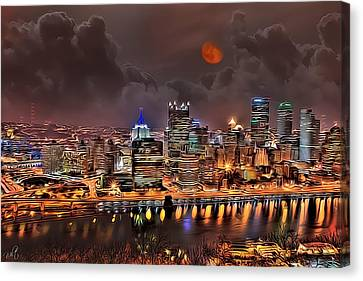 Pittsburgh Night Lights Canvas Print by Jason Wilt
