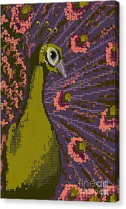 Pixel Peacock In Pink Canvas Print