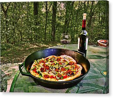 Canvas Print featuring the photograph Pizza And Vino by William Fields
