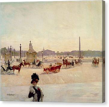 Place De La Concorde - Paris  Canvas Print by Georges Fraipont