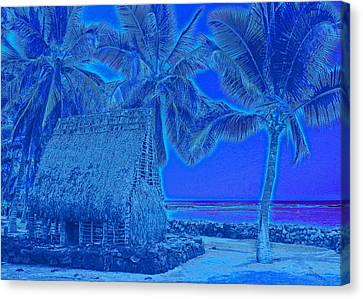 Canvas Print featuring the digital art Place Of Refuge In Blue by Kerri Ligatich