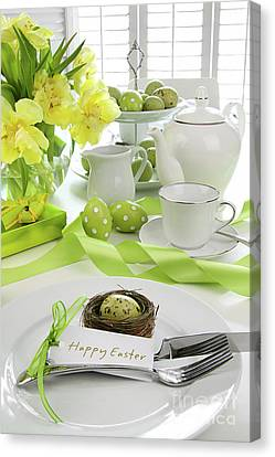 Place Setting With Card For Easter Brunch Canvas Print by Sandra Cunningham