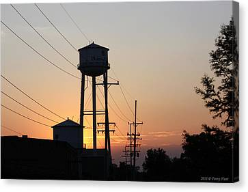 Canvas Print featuring the photograph Plainwell Paper Sunset by Penny Hunt