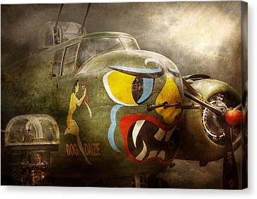 Plane - Pilot - Airforce - Dog Daize Canvas Print by Mike Savad