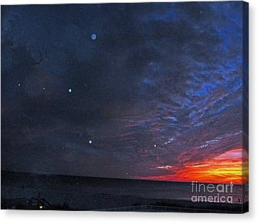 Planets Revealed At Sunset Canvas Print by Joan McArthur
