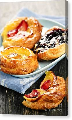 Plate Of Fruit Danishes Canvas Print by Elena Elisseeva