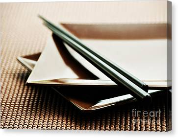 Plates And Chopsticks Canvas Print by HD Connelly
