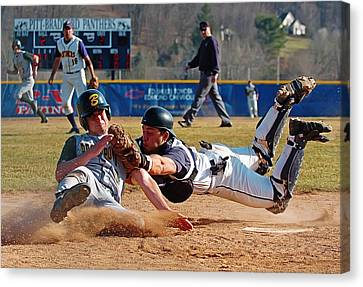 Play At The Plate Canvas Print by Wade Aiken
