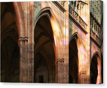 Play Of Light And Shadow - Saint Vitus' Cathedral Prague Castle Canvas Print by Christine Till