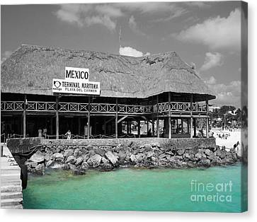 Canvas Print featuring the photograph Playa Del Carmen Mexico Maritime Terminal Color Splash Black And White by Shawn O'Brien