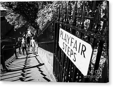 Playfair Steps Down Into Princes Street Gardens Edinburgh Scotland Uk United Kingdom Canvas Print by Joe Fox