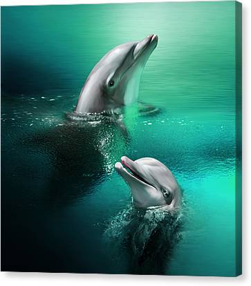 Playful Dolphins Canvas Print by Julie L Hoddinott