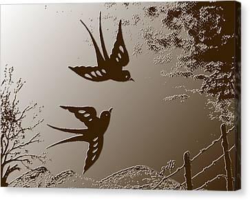 Playful Swalows Digital Art Canvas Print by Georgeta  Blanaru