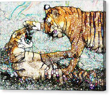 Canvas Print featuring the painting Playing Bengals by Elinor Mavor