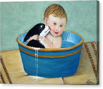 Playing In The Tub Canvas Print by Chris Law