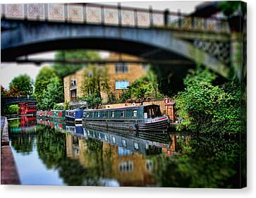 Playing With Canal Boats Canvas Print by Heather Applegate