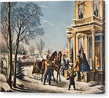 Pleasures Of Winter By Currier And Ives Canvas Print by Susan Leggett