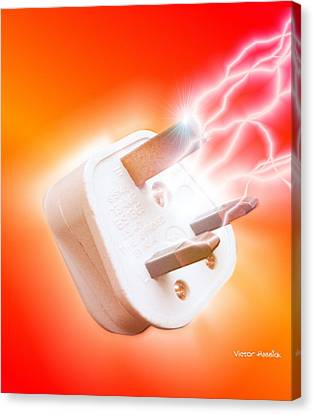 Plug With Electric Current Canvas Print by Victor Habbick Visions