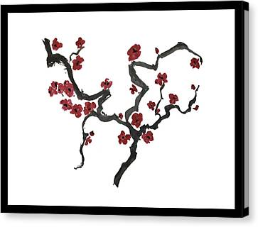 Canvas Print featuring the painting Plum Blossoms by Alethea McKee