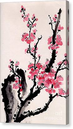 Canvas Print featuring the painting Plum Blossoms Iv by Yolanda Koh