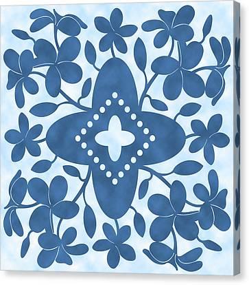 Plumeria Hawaiian Quilt Block Canvas Print by Alison Stein