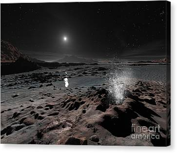 Pluto May Have Springs Of Liquid Oxygen Canvas Print by Ron Miller