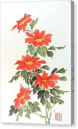 Poinsettias Canvas Print by Yolanda Koh