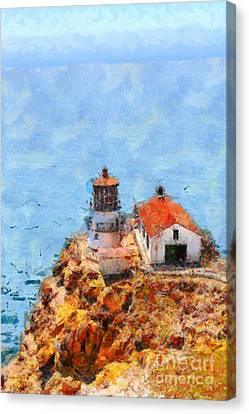 Point Reyes Lighthouse In California . 7d15989 Canvas Print by Wingsdomain Art and Photography