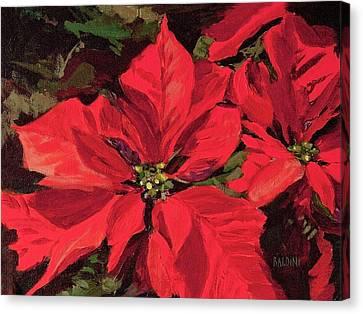 Pointsettia Flower Canvas Print