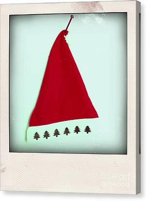Polaroid Of A Christmas Hat Canvas Print