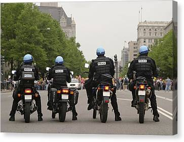 Police Officers Stand Sentinel Canvas Print by Jim Webb