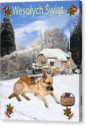 Friend Holiday Card Canvas Print - Polish German Shepherd Holiday by Eric Kempson