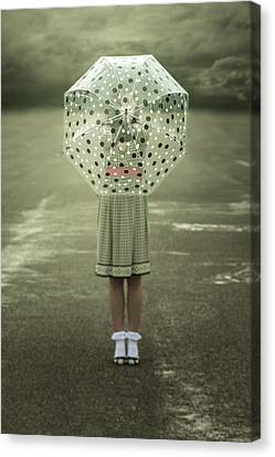 Polka Dotted Umbrella Canvas Print by Joana Kruse