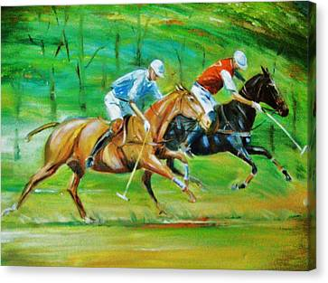 Polo Horses Canvas Print by Unique Consignment