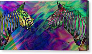 Polychromatic Zebras Canvas Print by Anthony Caruso