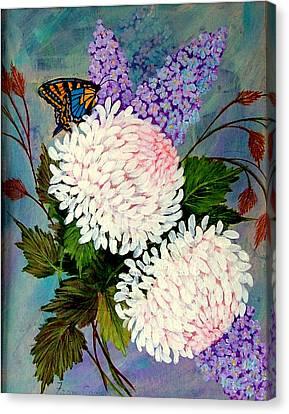 Pom Pom Mums Canvas Print by Fram Cama