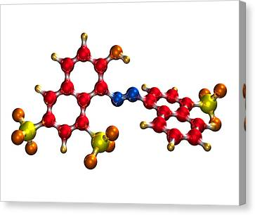 Ponceau Red Food Colouring Molecule Canvas Print by Dr Mark J. Winter