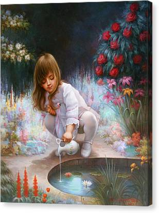 Pond And Girl  Canvas Print by Yoo Choong Yeul