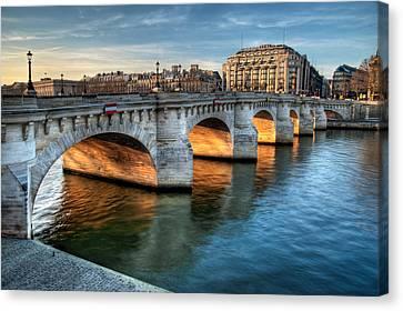 Pont-neuf And Samaritaine, Paris, France Canvas Print by Romain Villa Photographe