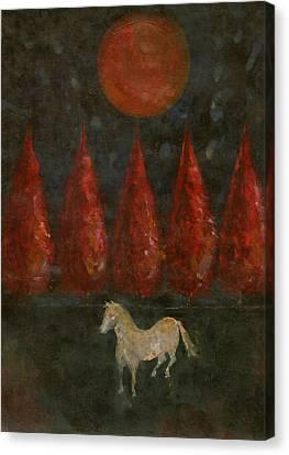 Pony And Tree And Moon Canvas Print by Wojtek Kowalski