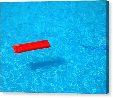 Pool - Blue Water And Red Inflatable Mattress Canvas Print by Matthias Hauser