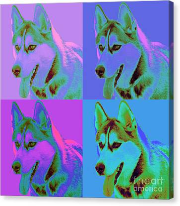Pop Art Siberian Husky Canvas Print by Renae Laughner