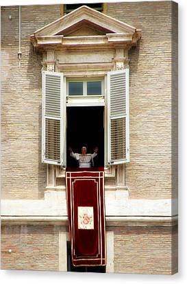 Pope Benedict Xvi A Canvas Print by Andrew Fare