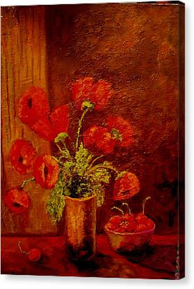 Poppies And Cherries Canvas Print by Marie Hamby