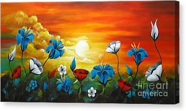 Poppies And Iris Canvas Print by Uma Devi