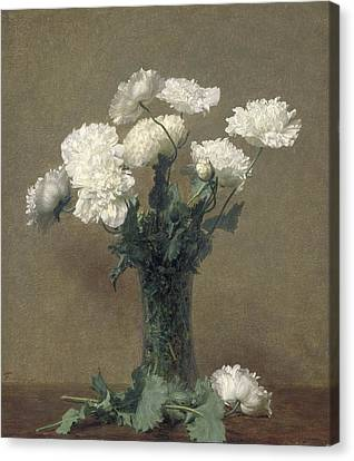 Poppies Canvas Print by Ignace Henri Jean Fantin-Latour