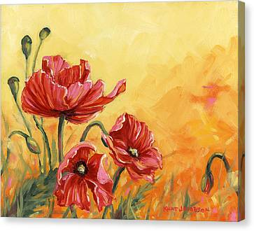 Canvas Print featuring the painting Poppies by Kurt Jacobson