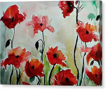 Poppies Meadow - Abstract Canvas Print