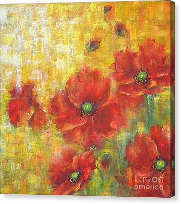 Poppies On A Sunny Day Canvas Print by Kathleen Pio