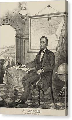 Popular Print Of President Lincoln Made Canvas Print by Everett